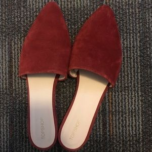 Burgundy Pointy Mules - Topshop